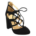 CHASE & CHLOE CD65 Women Almond Toe Lace Up Chunky Heel D'Orsay Pumps New In Box