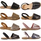 Ladies Slingback Flat Menorcan Womens Open Toe Glitter Beach Sandals Flip Flops