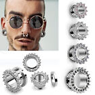 Pair CZ Spiked Steel Ear Flesh Tunnels Double Flares Screw Gauges Plugs Jewels