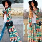 Chic Womens Tie-Dye Printing Long Sleeve Boho Gypsy Maxi Cardigan Shirt Dress Z