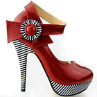 Ladies Flower Ankle Strap Stripe Platform Stiletto EVE Pumps Size 4/5/6/7/8/9/10