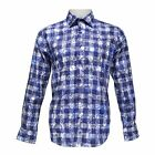 TR Premium Mens Slim Fit Button Down Plaid Fashion Shirt TR-694 Navy