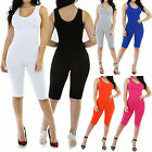 New Sleeveless Round Crew Neck Catsuit Bodysuit Capri Rompers Size S M L GT6665