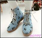 Stylish Ladies Riding Ankle Boots Canvas Cat Print Oxfords Lace-up Casual Shoes