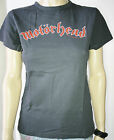 MOTORHEAD Red Logo Vtg Style Womens T-Shirt Charcoal Official