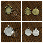 10 Sets 12mm Domed Clear Glass Pendant Cabochon Settings Lead Free & Nickel Free
