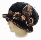 New Fashion WOMEN CROCHET CHEMO WINTER WARM HAT BEANIE W FLOWER PIN/Black Q147