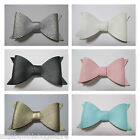 Baby/Toddler/Girl/Adult 4 Inch Faux  Leather Bow on Lined Clips