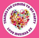 48 Personalised Round Abstract Heart Birthday Party Stickers Sweet Cone Bags