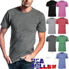 Mens T Shirts Crew Neck Slim Fit Fashion Casual Plain Tri Blend Cotton Solid Tee image