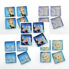 *CLEARANCE* 10 Frozen 10mm Square Printed Glass Cabochons (BOX53)