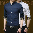 Leisure Men Slim-Fit Shirt Formal Suit Collar Tee Tops Button Solid Color M-5XL