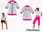 Zumba Fitness ~ Sexy ICONIC CROPPED zip up Jacket Top Shirt ~ White ~ NEW NWT