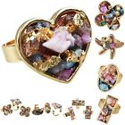 Multi-color Mixed Drusy Geode Gemstone Chips Adjustable Ring Heart/Oval/Star