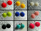 POM POM STYLE ROUND FLOCKED EARRINGS STUDS PIERCED 10MM BALL KITSCH KAWAII