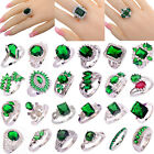 30Style Women Fashion Jewelry Emerald Quartz Gemstone Silver Ring Gift Size 6-13