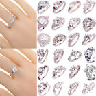 40 Styles Women Fashion Jewelry White Topaz Gemstone Silver Ring Gift Size 6-13