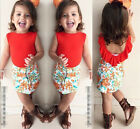 Toddler Kids Baby Girls Outfits Clothes Sleeveless T-shirt Tops+Skirts 2PCS Set