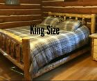 log bed -  Log Bed! Beautiful and Sturdy! Half Log Side Rails with Mattress Beams! Rustic