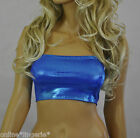 BOOB TUBE Shiny BLUE Lycra Strapless Bandeau TOP Wet Look Club Dancer Party W16