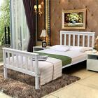 White Wooden Wood Sleigh Bed Frame Solid Pine Country Shaker Double King Size