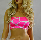 BOOB TUBE Top Pink White Giraffe Animal Lycra Strapless Bandeau Party Club B141