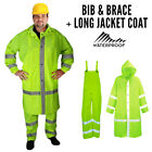"Mens Waterproof Hi Vis Viz Bib Brace Long Coat Jacket Trouser Set Hood 52"" - 56"""