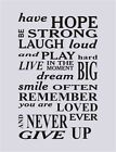 """Wall Art Quote Vinyl Decal Sticker """"Have hope Be strong...Never ever give up"""""""