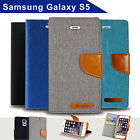 Denim Canvas Leather Wallet Case for Samsung Galaxy S5 Card Slots Cover