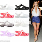 WOMENS LADIES GIRLS FLAT RETRO SUMMER BEACH JELLY SANDALS FLIP FLOPS SHOES SIZE