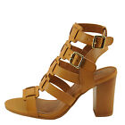Qupid Lucite 32A Camel Women's Caged Strappy Block Heel Sandal