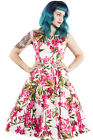 Hearts and Roses H&R Retro Pin Up Honolulu Hibiscus Pink Floral Print Long Dress