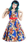 Hearts and Roses H&R Retro Pin Up Rockabilly Georgina Floral 50's Dress Vintage