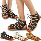 New Ladies Womens Flat Cut Out Sandals Chelsea Ankle Lace Up Peep Toe Shoes Size