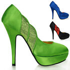 New Glitter Satin Open Club Stiletto Platform High Heels Pumps Sz 4/5/6/7/8/9/10