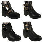 WOMENS LADIES CHELSEA BIKER CUT OUT LOW BLOCK HEEL ANKLE BOOTS BUCKLE SHOES SIZE