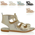 WOMENS LACE UP SANDALS FLAT LADIES GLADIATOR PEEPTOE HOLIDAY CASUAL SHOES 3-8
