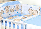 BLUE BABY GIRL BOY 3,4 PC SET COT - COT BED NURSER BABY SET- BUMPER, COVERS