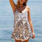 Hot Women Beach Dress Sexy Sleeveless O-Neck Strap Elepant Printed Sundresses Z