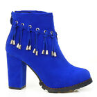 New Latest Womens Blue Tassles Chunky Heel Ankle Boots Size 4/5/6/7/8/8.5/9