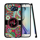 PERSONALIZED RUBBER CASE FOR SAMSUNG S6 S7 EDGE PLUS HOT PINK PAISLEY