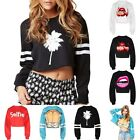 Women's Ladies Long Sleeve Crew Neck Crop Top Pullover Sweatshirt Cropped Jumper