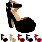 Womens Block Heel Ankle Strap Shoes Platform Heels Faux Suede Sandals UK 3-9