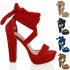 WOMENS PLATFORM BLOCK HIGH HEEL TIE LACE UP ANKLE LADIES PARTY SANDALS SHOES 3-8