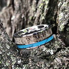 Deer Antler Hunter Ring Turquoise Mens Band Womens Weddin...
