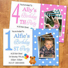 Boys Girls Personalised 1st Birthday Party Invitation Magnets + Photo - Any Age