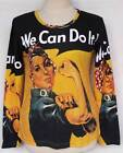 We Can Do It Rosie the Riveter Print Women Long Sleeve T-Shirt TOP Sz M-L LS2039