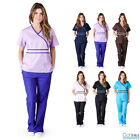 Внешний вид - Womens Contrast Mock Wrap Medical Hospital Nursing Uniform Scrub Set Top & Pants