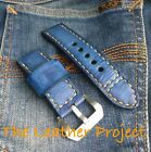 Handmade Blue Jeans Paint orange stitching Leather Strap Band for big watch
