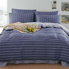 Checked 100%Cotton Double Queen King Size Bed Quilt/Duvet/Doona Cover Set Linen